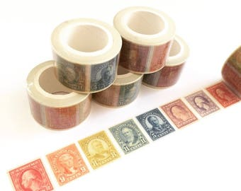 Stamp Washi Tape - Rainbow Washi Tape - Postage Stamp Stickers - Vintage Washi Tape - Scrapbooking Sticker - Rainbow Stationery - Wide Washi