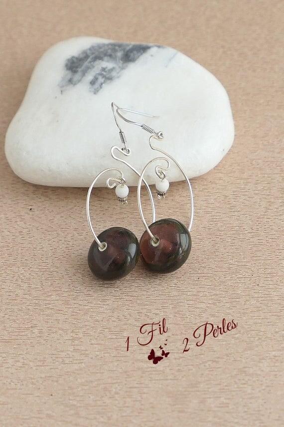 Boucles d 39 oreille cr ole perle de verre artisanale ronde for Fenetre ronde oreille