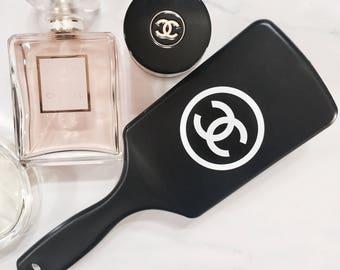 Designer logo black white hairbrush brush beauty vanity