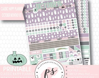 Boo October Halloween Monthly View Kit Printable Planner Stickers for use with Mambi Classic Happy Planner) | JPG/PDF/Silhouette Cut File