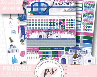 June 2018 Monthly View Kit Printable Planner Stickers | Magical Mykonos (for use with Erin Condren ECLP) | JPG/PDF/Silhouette Cut File