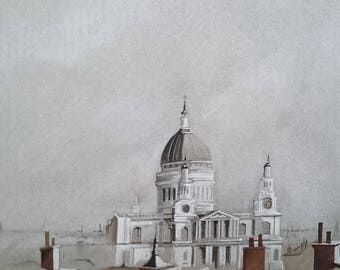 St Paul's Cathedral, Original mixed media painting by Alan Harris, paintings, oils, watercolours, Impressionistic, Landscapes, sea and sky