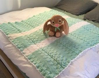 Hand Knit Green/White Baby Blanket/Stroller blanket/Crib blanket/Christening/Baby Shower Gift