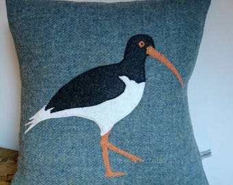 Sold out coming back soon Hand Crafted Harris Tweed bird cushion cover