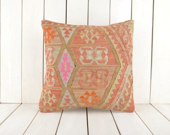 16x16 Decorative Kilim Pillow, Handmade Kilim Pillow, Vintage Kilim Pillow, Kilim Pillow Cover, Turkish Kilim Pillow, Kilim Cushion Cover
