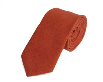 Brick Orange Necktie For Wedding / - Necktie For Groomsmen / Dark Orange Necktie / Orange Men Necktie / Brick Color Bow tie For Men