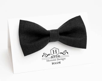 Black Linen Bow Tie For Wedding - Ceremony / Groomsmen / Men's / Boy's / Toddler's Black Linen Bow Tie