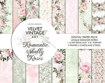 Shabby Chic Digital Papers, Romantic Digital Papers, Floral Digital Papers, Wedding Digital Papers, Watercolor, Planner Stickers Invitation