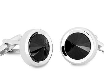 Cufflink Round Shaped with Black Crystal