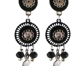 Earring ear Clip ballerina black (made in France)