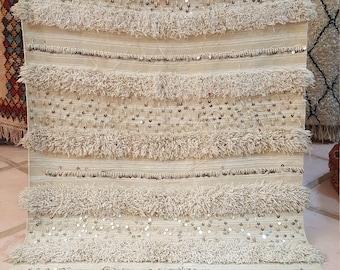 Moroccan wedding wool blanket vintage handmade size 200*115 cm