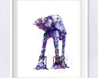 At-At Walker Print, illustration, Imperial Walker, Star Wars Decor, Jedi, Watercolor, Star Wars Art, AT-AT Wall Art, Gift, Digital Download