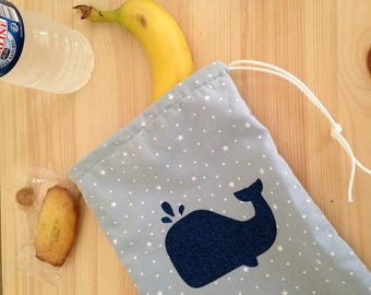Blue pouch star white and Navy blue whale in heat-sealed flex