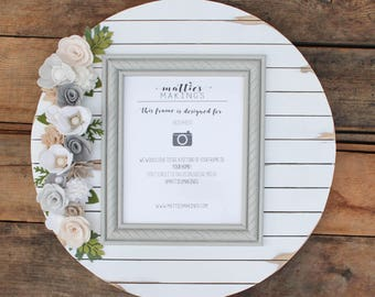 """Felt Floral Shiplap Frame, 19"""" in size, 8x10 photo, above the crib ideas, god child keepsake, for daughter in law, sister in law gift"""