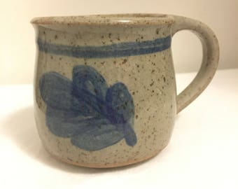 Grey Blue Leaf Pottery Cup Mug Deleware Pottery NJ Fall Autumn Pottery