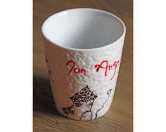 "Cup ""My Angel"" customizable - hand painted"