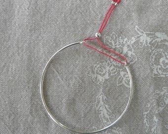 "Bracelet half silver simple band ""Minimalist"" hot pink"