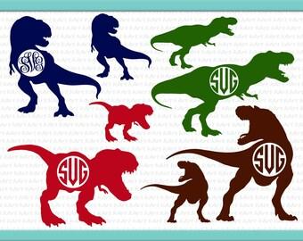 Dinosaur monogram SVG, T Rex bundle svg,  T-rex clipart, Monogram frame svg, Dinosaur SVG bundle, eps pdf dxf svg studio file, cutting file