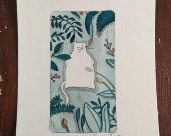 Fat cat-animal painting-gift-art print-animal design-nature-wallpaper-wall art-15x21