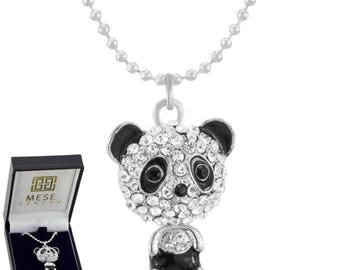 Diamond Panda Necklace Swarowski Crystals Pendant - Elegant Gift Box