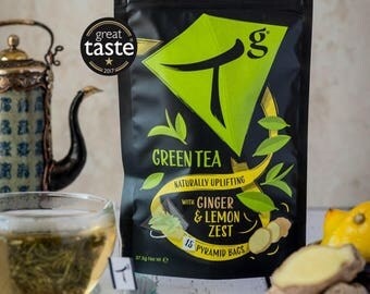 Tg green tea with ginger & lemon pouch (15 pyramid bags)