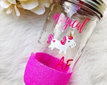 Magical AF Unicorn Glitter Dipped Mason Jar Tumbler//Magical AF//Unicorn Tumbler//Glitter Tumbler//Unicorn Mason Jar//Gift for Unicorn Lover