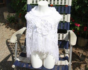 Handmade child 9-10 years crocheted white shawl