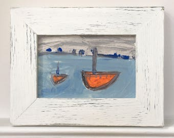 Vintage abstract painting, seascape and boat, Cornish coast, distressed white painted frame.
