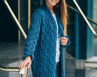 Darkblue cardigan Cotton cardigan Woman knit coat Knit jacket Long autumn cardigan cotton White sweater Knit sweater coat Cotton sweater