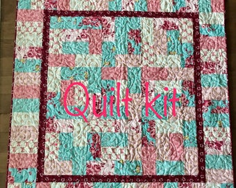1 Blue and pink cowgirl baby quilt kit.  Howdy by Stacy Iset Hsu for Moda fabrics.  Cowboy boots and horseshoes. Baby quilt kit western baby