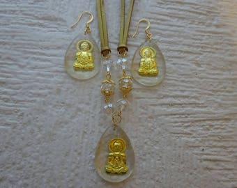 Buddha Jewelry Set/Budda Earrings/Oriental Jewelry/Chinese Jewelry/Golden Buddha Jewelry/Asian Jewelry/Oriental Jewelry Set/Free Shipping