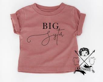 Big sister tee, big sis, big sister, big sister announcement, baby announcement, big sister tshirt, matching tees, sibling tees