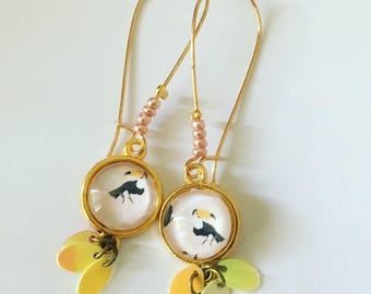 Golden earrings Toucans