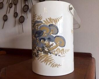 Vintage STOTTER Ice Bucket Lucite Handle/Lid Mushrooms, Mid Century Modern Tall Oversized Ice Bucket Gray Tan White Wine Cooler Barware