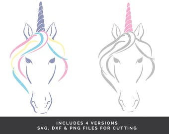 4 Unicorn svg files - Unicorn Head svg - Unicorn Face svg - Unicorn svg - Unicorn Cut File - Unicorn Birthday svg