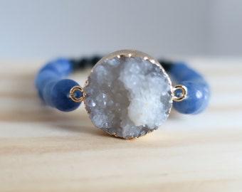 Druzy Stone Pendant   Aromatherapy   Essential Oil   Lava Rock   Diffuser Bracelet   Beaded Bracelet   Yoga   Stretch Bracelet   Handmade