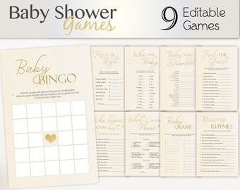 Baby Shower Games, gold, Editable Baby Shower Games Package Set Bundle, Editable games, Baby Shower Games unissex, Gold Editable Games, Star