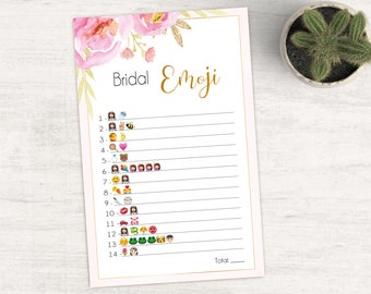 Bridal Shower Game Emoji Pictionary, Bridal Shower Game, Bridal Shower Printable, Instant Digital Download, Pink Gold, Pink Flower