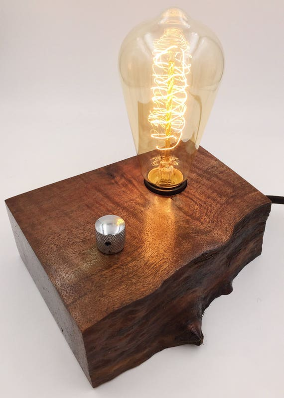Live Walnut Wood Block Desk Lamp. Edison Bulb and Telecaster style knob.