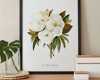 White Magnolia Bouquet Watercolor Painting, Peony Flowers, Printable Art, Original art, Floral Wall Art, Instant Download