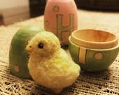 Monogrammed Wooden Easter Egg with Needle Felted Chick, personalized