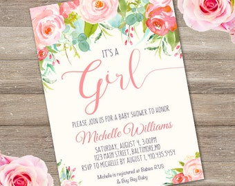 Whimsical Peach Girl Baby Shower Invitation, girl baby shower invite, baby shower, floral baby shower, instant download, edit with Adobe