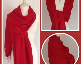 Red Cashmere Blend Wrap Pashmina Shawl Scarf Party Weddings Gift Idea