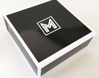 Black Monogram Groomsmen Box