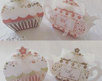Cupcake & Teapot Wedding or Tea Party Favours, Afternoon Tea Favour Boxes, DIY favour boxes, Flat pack favour boxes, 10 (5 of each)