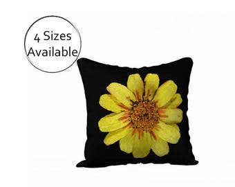 Yellow Floral Pillow Cover, Printed Flower Case, Decorative Pillow Sham, Velveteen or Canvas, Square Retangular Lumbar Oblong, in Black Gold