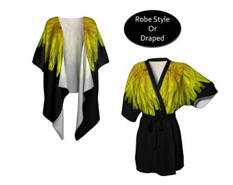 Floral Kimono Jacket, Lightweight Chiffon, Short Belted Robe or Draped, Swim Beach Coverup, Boho Festival Hippy, Dandelion in Yellow Black