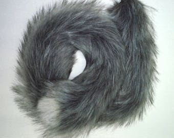 Mottled Grey Cat Tail Extra Long 32 inches (80 cm) with choice of Stainless Steel, Metal Alloy or Silicone plug.