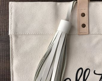 WHITE Leather tassel- bag accessories- key chain- luggage tag- bag bling