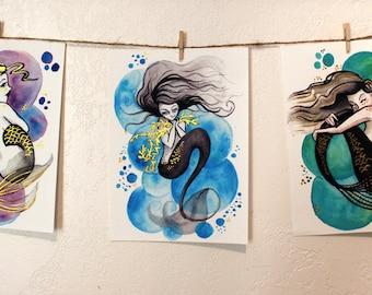 Set of Three Prints - Mermaid Bubbles // Hand Embellished Prints